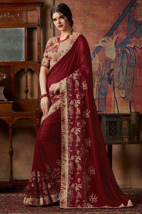 Vichitra Silk Maroon Saree With Thread Silk Embroidery Work