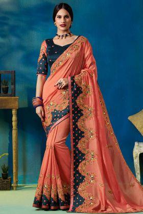 Vichitra Silk Party Wear Saree In Peach Color
