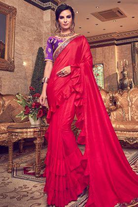 Vichitra Silk Red Party Wear Ruffle Saree Online