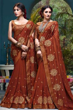 Vichitra Silk Saree Foil Print Work In Light Brown Color