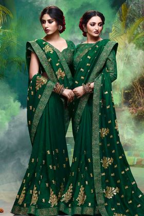 Vichitra Silk Traditional Saree Green Color With Embroidery Work