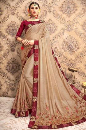 Vichitra Silk Wedding Saree Embroidery Work In Beige Color