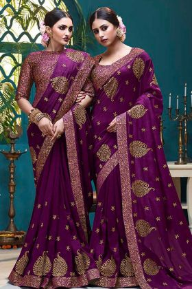 Vichitra Silk Wedding Saree Foil Print Work In Purple Color