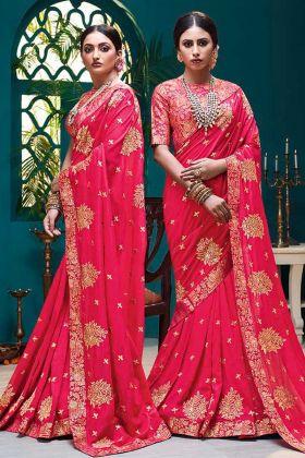 Vichitra Silk Wedding Saree Foil Print Work In Rani Pink Color