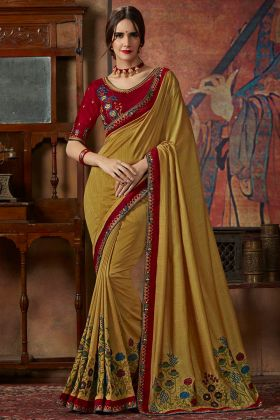 Vichitra Silk Wedding Saree Thread Silk Embroidery Work In Gold Color