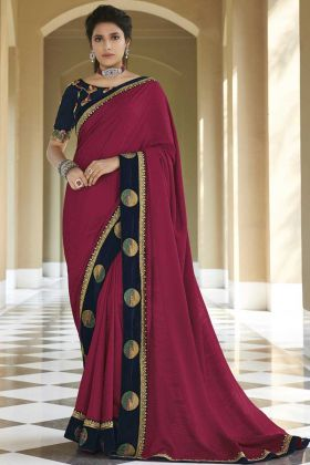 Violet Color Fancy Stylish New Party Wear Saree Online