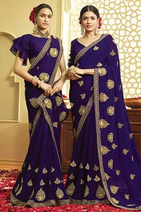 Violet Color Georgette Embroidery Saree