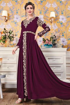Violet Party Wear Georgette Designer Gown