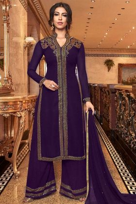 Violet Color Designer Palazzo Salwar Suit Georgette Fabric With Net Dupatta