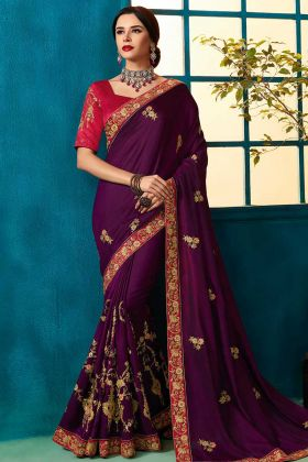 Violet Color Party Wear Saree With Silk Georgette Fabric
