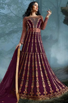 Violet Net Anarkali Suit Semi Stitched For Women