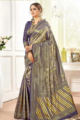 Violet Woven Design Art Silk Banarasi Saree With Blouse