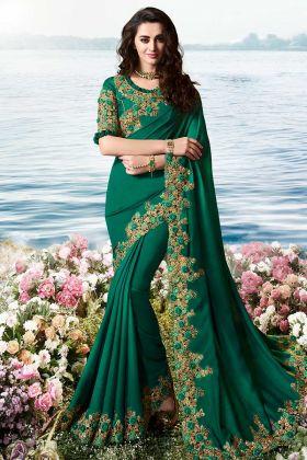 Viscose Tussar satin silk Dark Teal Green Wedding Saree