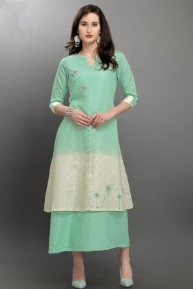 Viscose Silk Pastel Green and White Fancy Kurti
