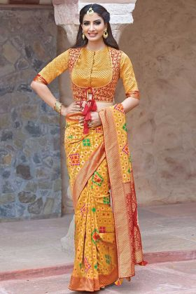 Weave Silk Traditional Saree Sequins Embroidery Work Mustard Color With Red Jacket Blouse
