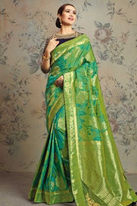 Weaved Jacquard Silk Green Fancy Saree
