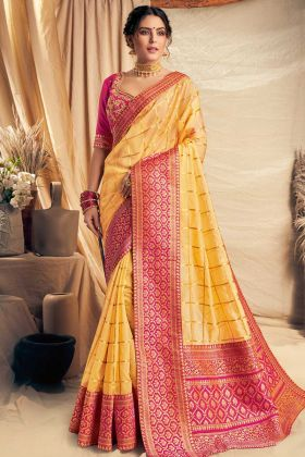 Weaved Silk Georgette Festival Saree In Yellow Color