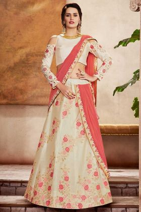 Weaves Silk Off White Designer Party Wear Cocktail Lehenga Saree