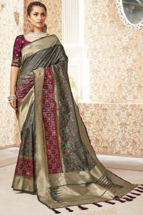 Weaving With Jacquard Khakhi Grey Banarasi Pure Silk Saree