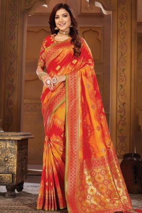 Weaving With Jacquard Work Red Designer Saree