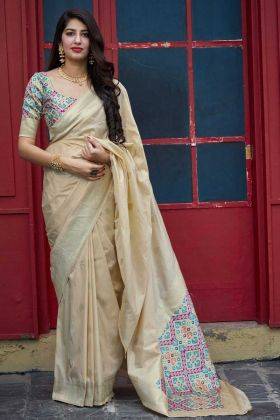 Weaving With Jecquard Silk Saree In Beige Color For Wedding