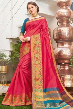 Weaving Work Dark Pink Designer Saree For Women