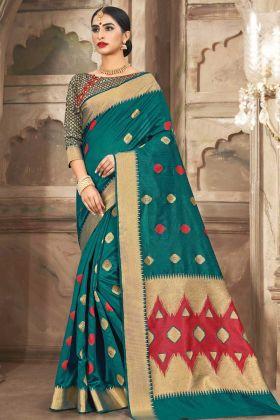 Weaving Work In Cotton Handloom Wedding Saree