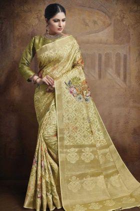 Weaving Work Light Yellow Jacquard Silk Saree