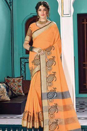Weaving Work Orange Linen Cotton Festive Wear Saree