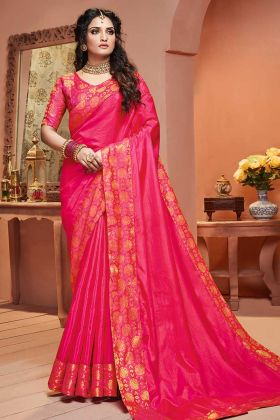 Weaving Work Rani Pink Satin Silk Saree Design