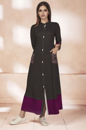 Weaving Cotton Black Kurti