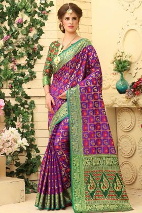 Weaving Jacquard Silk Patan Patola Saree