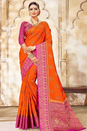 Weaving Print Nylon Silk Orange Saree