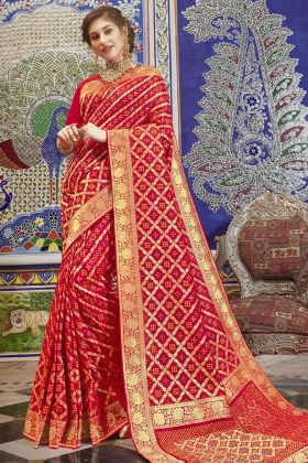 Weaving Print Red Handloom Silk Saree With Patola Design