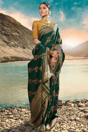 Weaving Raw Silk Festival Saree Hand Work In Dark Green Color