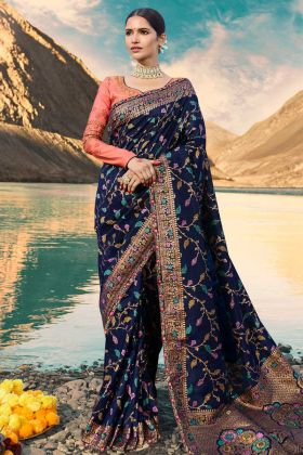 Weaving Raw Silk Festival Saree Navy Blue Color With Resham Embroidery Work