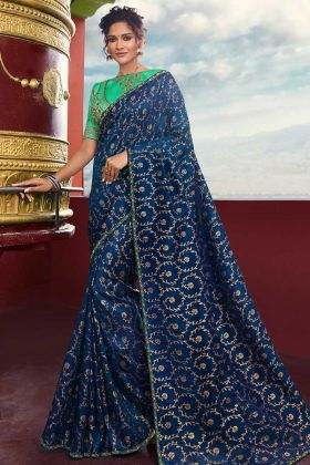 Weaving Raw Silk Festival Saree Royal Blue Color With Resham Embroidery Work