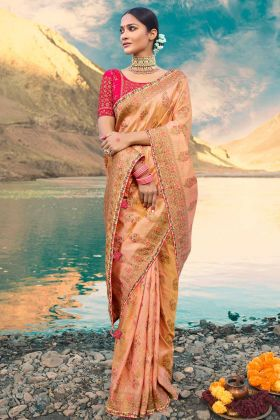 Weaving Raw Silk Saree Peach Color Resham Embroidery Work With Lace Border