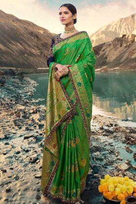 Weaving Raw Silk Wedding Saree Green Color With Zari Embroidery Work