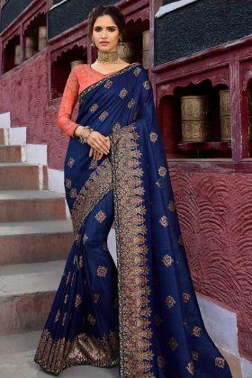 Weaving Raw Silk Wedding Saree Navy Blue Color With Zari Embroidery Work
