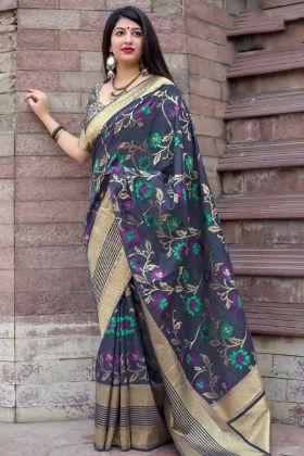 Weaving Work Art Silk Designer Saree In Navy Blue Color