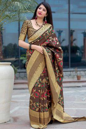 Weaving Work Art Silk Festival Saree In Brown Color