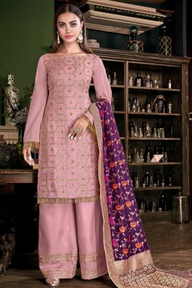 Weaving Work Baby Pink Color Palazzo Salwar Suit