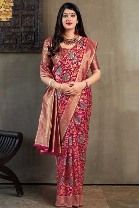Weaving Work Banarasi Art Silk Designer Saree With Dark Pink Color