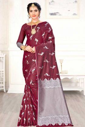 Weaving Work Banarasi Art Silk Party Wear Saree With Maroon Color In Vibrant Design