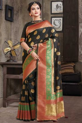 Weaving Work Banarasi Saree Black Color With Blouse