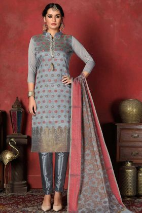 Weaving Work Banarasi Silk Grey Straight Cut Salwar Suit