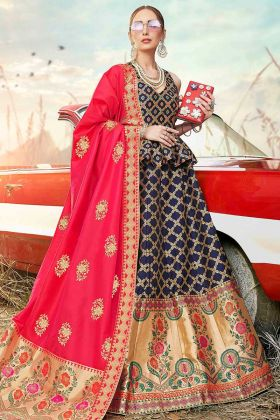 Weaving Work Banarasi Silk Jacquard Designer Lehenga Choli In Navy Blue Color