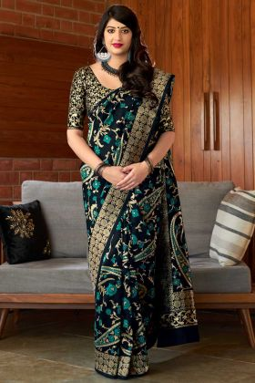 Weaving Work Black Color Banarasi Art Silk Traditional Saree