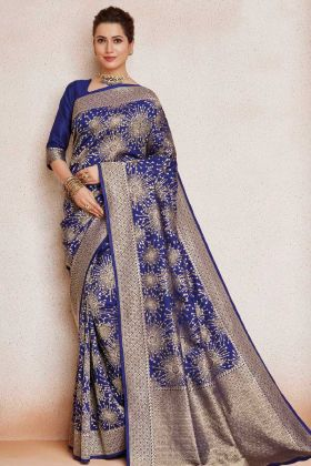Weaving Work Blue Color Soft Art Silk Festival Saree